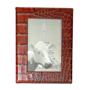 Embossed Brown Leather Picture Frame 6x4