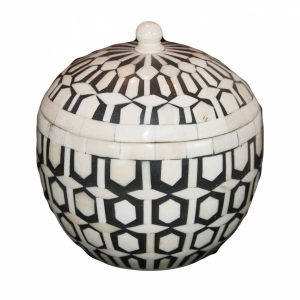 Large Round Black and White Bone Box with Lid