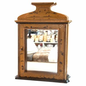 Ochre Painted Cabinet with Mirror