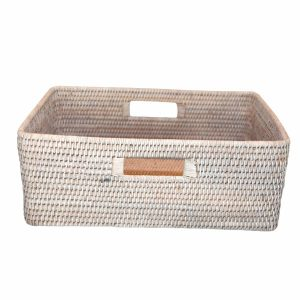 White Handwoven Rattan Rectangular Basket with Handles