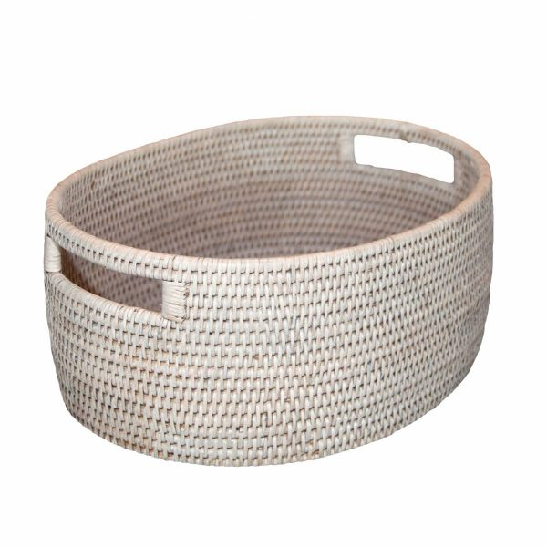 White Handwoven Rattan Oval Basket with Handles