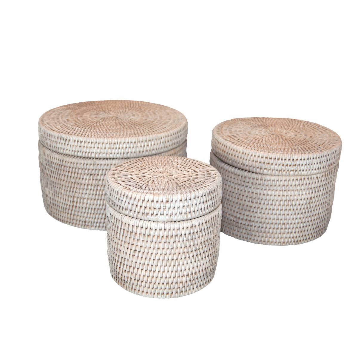 set of three white handwoven rattan round boxes with lids baker rhodes. Black Bedroom Furniture Sets. Home Design Ideas