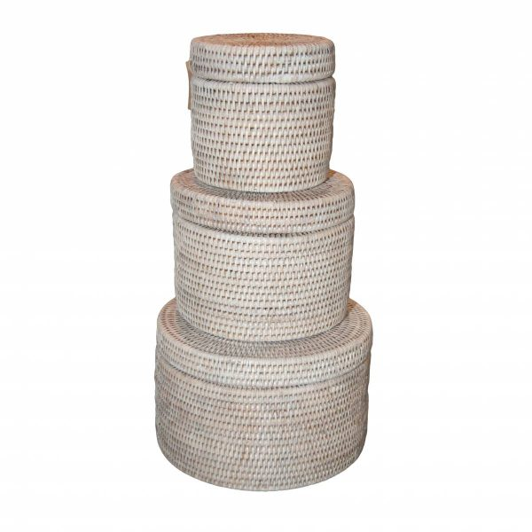 Set of Three White Handwoven Rattan Round Boxes with Lids