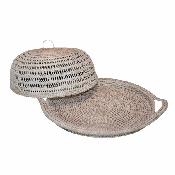 White Handwoven Rattan Round Tray with Cover