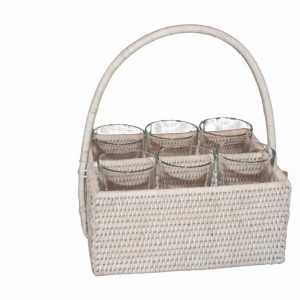 White Handwoven Rattan Basket with Six Glasses