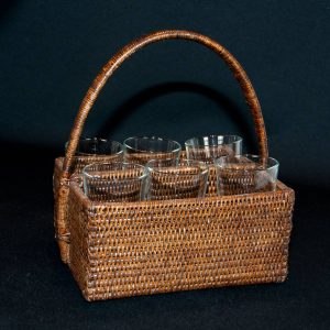 Natural Handwoven Rattan Basket with Six Glasses