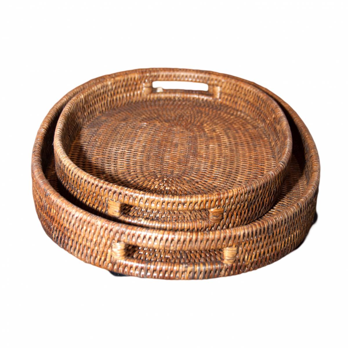 Set Of Two Natural Handwoven Rattan Oval Trays