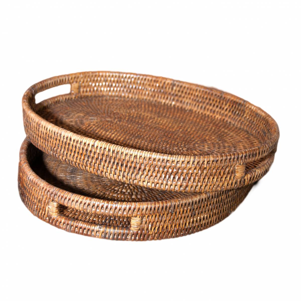 Set Of Two Natural Handwoven Rattan Oval Trays 2