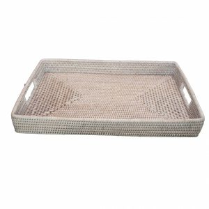 White Handwoven Rattan Rectangular Tray