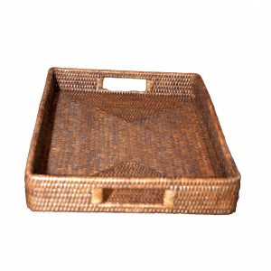 Natural Handwoven Rattan Rectangular Tray