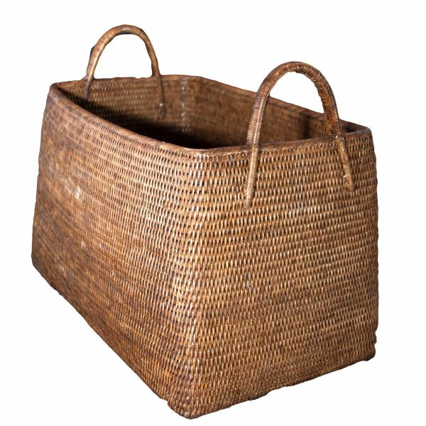 Large Natural Handwoven Rattan Basket with Handles