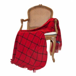 Red & Black Check  Pure Cashmir Throw