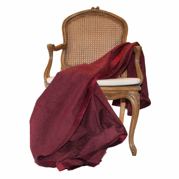 Dark Red Chenille Throw with plain border
