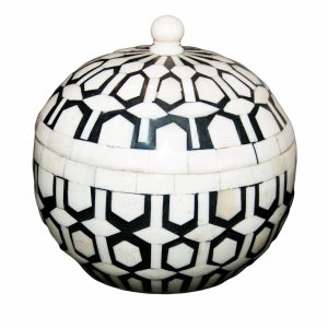 Small Round Black and White Bone Box with Lid