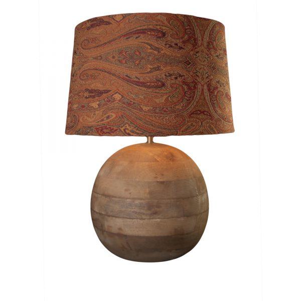Teak Spherical Lamp Base