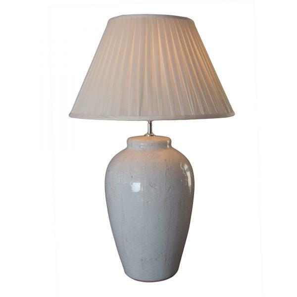 Large 'Vesuvius' White Rustic Ceramic Lamp Base