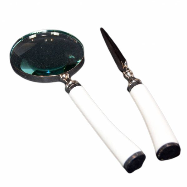 White Bone Handled Magnigying Glass & Letter Opener Set