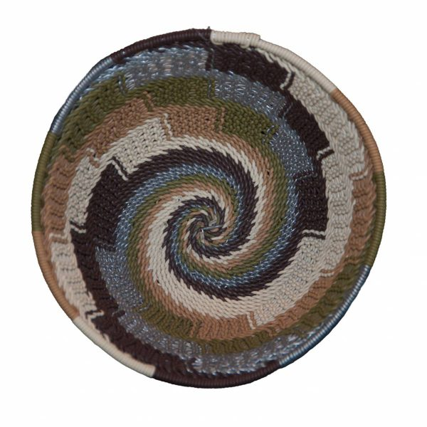 Earthtone Small Round Handwoven Telephone Wire Basket