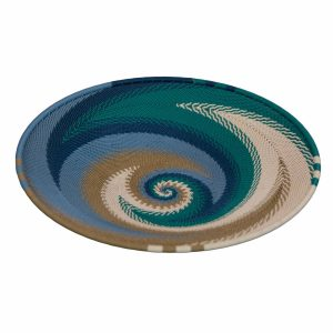 Ocean Medium Round Handwoven Telephone Wire Platter