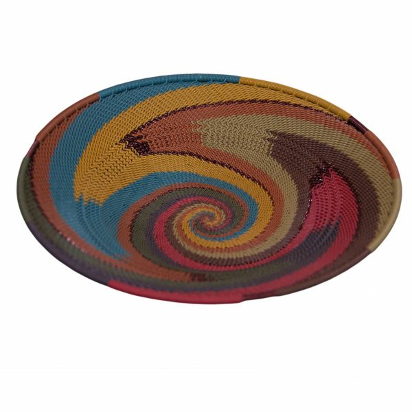 Sunset Medium Round Handwoven Telephone Wire Platter