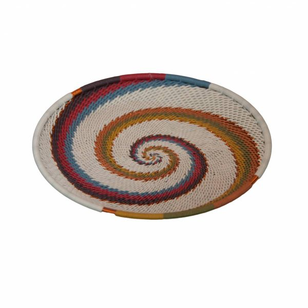 Desert Tones Small Round Handwoven Telephone Wire Plate