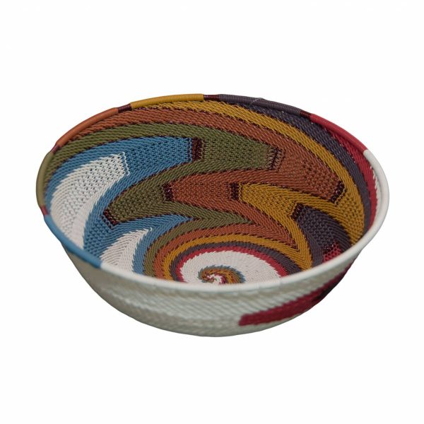 Desert Tones Large Round Handwoven Telephone Wire Basket