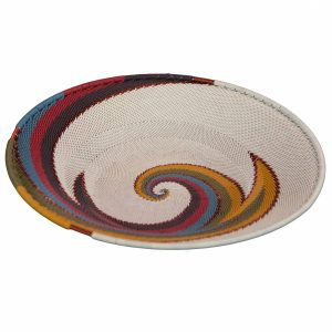 Desert Tones Medium Round Handwoven Telephone Wire Platter
