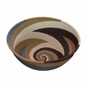 Earthtone Medium Round Handwoven Telephone Wire Basket