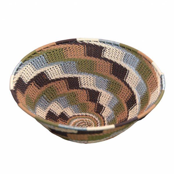 Earthtone Large Round Handwoven Telephone Wire Basket