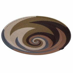 Earthtone Medium Round Handwoven Telephone Wire Platter