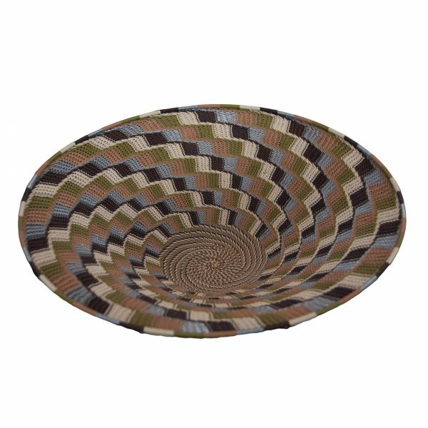 Earthtone Large Round Handwoven Telephone Wire Lampshade Basket