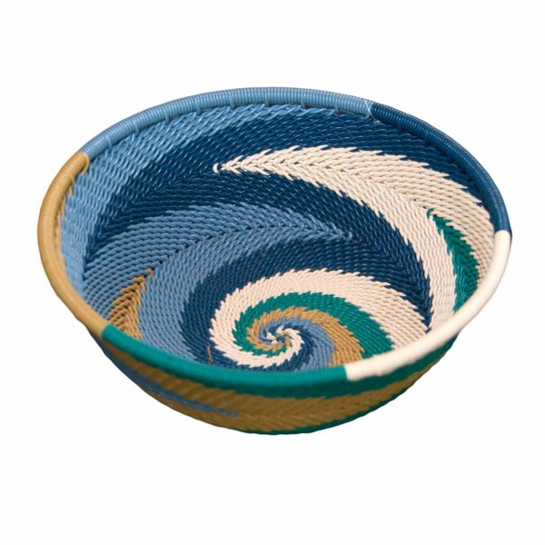 Ocean Small Round Handwoven Telephone Wire Basket