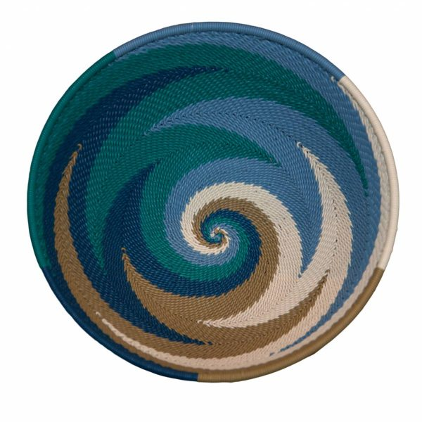 Ocean Medium Round Handwoven Telephone Wire Basket
